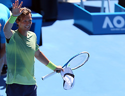 MELBOURNE, Jan. 22, 2018  Tomas Berdych of the Czech Republic waves to spectators after winning the men's singles fourth round match against Fabio Fognini of Italy at Australian Open 2018 in Melbourne, Australia, Jan. 22, 2018. Tomas Berdych won 3-0. (Credit Image: © Li Peng/Xinhua via ZUMA Wire)