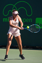 March 23, 2018 - Key Biscayne, FL, U.S. - KEY BISCAYNE, FL - MARCH 23: Sofia Kenin (USA) in action on Day 5 of the Miami Open at Crandon Park Tennis Center on March 23, 2018, in Key Biscayne, FL. (Photo by Aaron Gilbert/Icon Sportswire) (Credit Image: © Aaron Gilbert/Icon SMI via ZUMA Press)