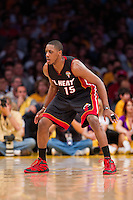 04 March 2012: Guard Mario Chalmers of the Miami Heat plays defense against the Los Angeles Lakers during the first half of the Lakers 93-83 victory over the Heat at the STAPLES Center in Los Angeles, CA.