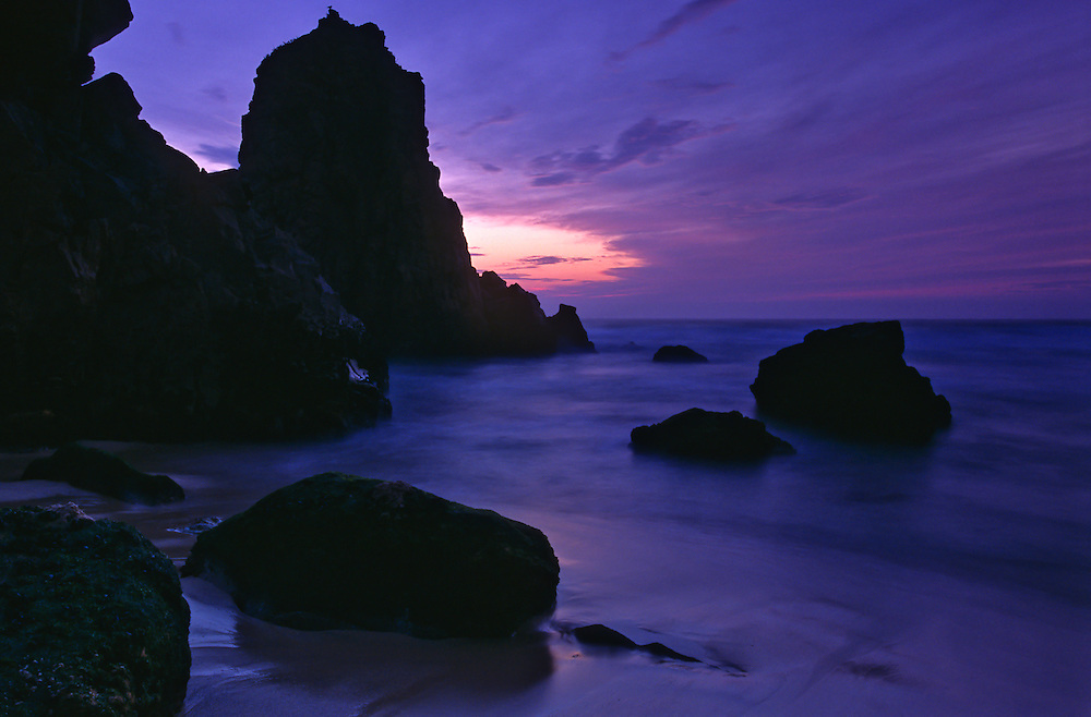 Ursa Beach at dusk. This beach is one of the most scenic beaches near the Roca Cape