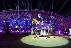 KUEHNER Max (AUT), Elektric Blue P<br /> Doha - CHI Al SHAQAB 2020<br /> Siegerehrung<br /> Commercial Bank CHI Al Shaqab Grand Prix presented by LONGINES<br /> Int. jumping competition over two rounds and jump-off (1.60 m)<br /> 29. Februar 2020<br /> © www.sportfotos-lafrentz.de/Stefan Lafrentz