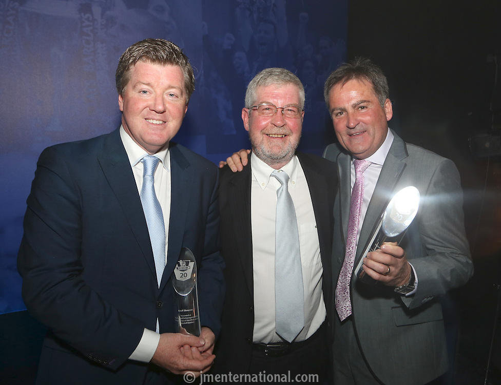 The Football Extravaganza celebrating 20 years of the Premier League, in aid of Nordoff Robbins. L to R, Geoff Shreeves, Brian McLaughlin (FE Chairman) & Richard Keys.Wednesday, April.11, 2012 (Photo/John Marshall JME)