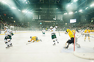 Vermont Celebrates a goal during the men's hockey game between the Vermont Catamounts and the Quinnipiac Bobcats in the championship game of the Friendship Four hockey tournament at the SSE Arena on Saturday evening November 26, 2016 in Belfast, Ireland. (BRIAN JENKINS/for the FREE PRESS)