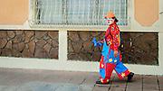 A clown walking Granada, Nicaragua
