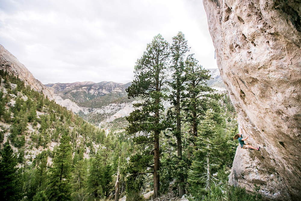 Paul Roberts on Warlord, 5.13a, at The Hood in Mt. Charleston, Nevada - Kris Ugarriza