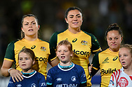 SYDNEY, AUSTRALIA - JULY 19: Grace Hamilton (8), Millie Boyle (6) and Cobie-Jane Morgan (9) sing the national anthem during the second rugby test match between the Australian Wallaroos and Japan on July 19, 2019 at North Sydney Oval in Sydney, Australia. (Photo by Speed Media/Icon Sportswire)