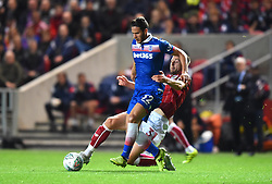 Jens Hegeler of Bristol City tackles Ramadan Sobhi of Stoke City - Mandatory by-line: Paul Knight/JMP - 19/09/2017 - FOOTBALL - Ashton Gate Stadium - Bristol, England - Bristol City v Stoke City - Carabao Cup
