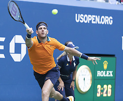 September 4, 2018 - New York, New York, United States - Juan Martin del Potro of Argentina returns ball during US Open 2018 quarterfinal match against John Isner of USA at USTA Billie Jean King National Tennis Center (Credit Image: © Lev Radin/Pacific Press via ZUMA Wire)