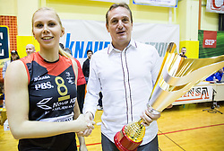 Mihela Planinsec of Nova KBM Branik with Metod Ropret, president of OZS after winning the volleyball match between Nova KBM Branik Maribor and OK Luka Koper in Final of Women Slovenian Cup 2014/15, on January 18, 2015 in Sempeter v Savinjski dolini, Slovenia. Photo by Vid Ponikvar / Sportida