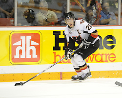 Calgary Hitmen captain Michael Stone in Game 4 of the 2010 MasterCard Memorial Cup in Brandon, MB on Monday May 17. Photo by Aaron Bell/CHL Images