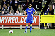 AFC Wimbledon defender George Francomb (7) standing over fre kick during the EFL Sky Bet League 1 match between AFC Wimbledon and Rotherham United at the Cherry Red Records Stadium, Kingston, England on 17 October 2017. Photo by Matthew Redman.