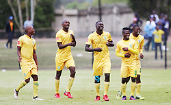 13052018 (Durban) Golden Arrows players celebrating a goal at a Final match of the ABSA premier league between Maritzburg United and Lamontville Golden Arrows at The Harry Gwala stadium, Yesterday.<br /> Pictcure: Motshwari Mofokeng/ANA