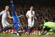 Chelsea's Demba Ba tries to score past Basel's Yann Sommer during their UEFA Champions League group match at Stamford Bridge in London, 27 August 2013.  BOGDAN MARAN / BPA