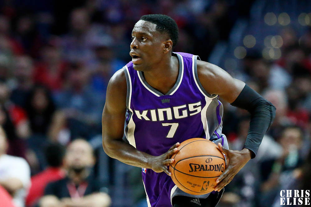 26 March 2016: Sacramento Kings guard Darren Collison (7) brings the ball up court during the Sacramento Kings 98-97 victory over the Los Angeles Clippers, at the Staples Center, Los Angeles, California, USA.