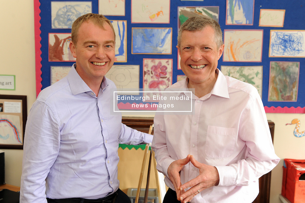 Willie Rennie, Cowdenbeath, 29-4-2016<br /> <br /> Tim Farron and Willie Rennie<br /> <br /> (c) David Wardle | Edinburgh Elite media