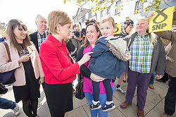 First Minister Nicola Sturgeon joined the SNP's candidate for East Lothian George Kerevan on the campaign trail in Musselburgh.