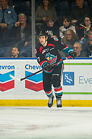 KELOWNA, CANADA - NOVEMBER 23:  Libor Zabransky #7 of the Kelowna Rockets skates against the Victoria Royals on November 23, 2018 at Prospera Place in Kelowna, British Columbia, Canada.  (Photo by Marissa Baecker/Shoot the Breeze)
