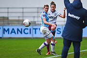 West Ham United Women defender Laura Vetterlein (26) and Manchester City Women forward Ellen White (18) in action during the FA Women's Super League match between Manchester City Women and West Ham United Women at the Sport City Academy Stadium, Manchester, United Kingdom on 17 November 2019.