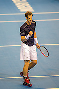 Andy Murray reacts to winning a point during the Davis Cup Semi Final between Great Britain and Argentina at the Emirates Arena, Glasgow, United Kingdom on 16 September 2016. Photo by Craig Doyle.