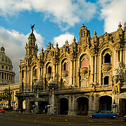 Gran Teatreo de La Habana, Grand Theatre of Havana and dome of Capitol in Habana Centro, Central Havana, Cuba.