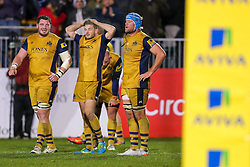 Jordan Crane (capt) of Bristol Rugby looks dejected after Bath Rugby hold on to win 16-9 - Rogan Thomson/JMP - 18/11/2016 - RUGBY UNION - Recreation Ground - Bath, England - Bath Rugby v Bristol Rugby - Aviva Premiership.