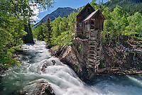 """The Crystal Mill, or """"Crystal Powerhouse"""" is an 1893 wooden powerhouse located on a rocky outcrop above the Crystal River near Crystal, Colorado"""