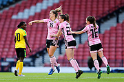 Sophie Howard (#15) of Scotland celebrates Scotland's third goal (3-2) with Lizzie Arnot (#23) of Scotland and Christie Murray (#16) of Scotland during the International Friendly match between Scotland Women and Jamaica Women at Hampden Park, Glasgow, United Kingdom on 28 May 2019.