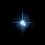 A pair of small moons orbiting pluto discovered by NASA's Hubble Space Telescope: Nix and Hydra are roughly 5,000 times fainter than Pluto and are about two to three times farther from Pluto than its large moon, Charon.