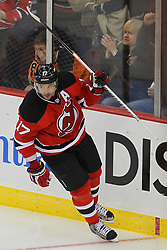 Jan 22, 2013; Newark, NJ, USA; New Jersey Devils left wing Ilya Kovalchuk (17) celebrates his penalty shot goal on Philadelphia Flyers goalie Ilya Bryzgalov (30) during the second period at the Prudential Center.