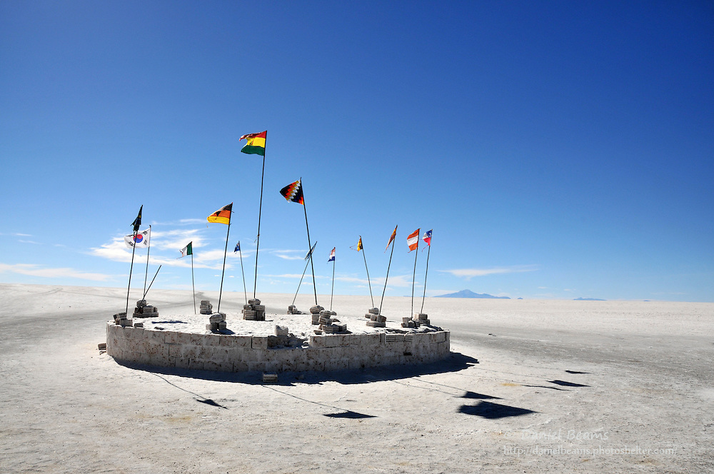 Flags on the Salar de Uyuni, Potosi, Bolivia