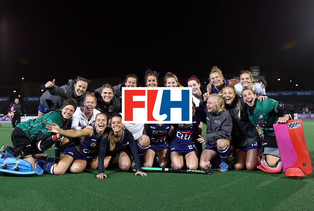 JOHANNESBURG, SOUTH AFRICA - JULY 20:  The United States of America team pose during day 7 of the FIH Hockey World League Women's Semi Finals semi final match between England and United Staes of America at Wits University on July 20, 2017 in Johannesburg, South Africa.  (Photo by Jan Kruger/Getty Images for FIH)