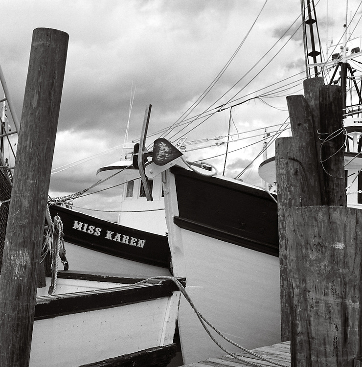 The Miss Karen and other shrimp trawlers sit tied up at the Magwood's Seafood Docks in Shem Creek waiting for the season to open | 2003