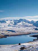 High-angle view of Lake Alexandrina from atop Mt. John, with the Gamack Range in the background.  New Zealand.