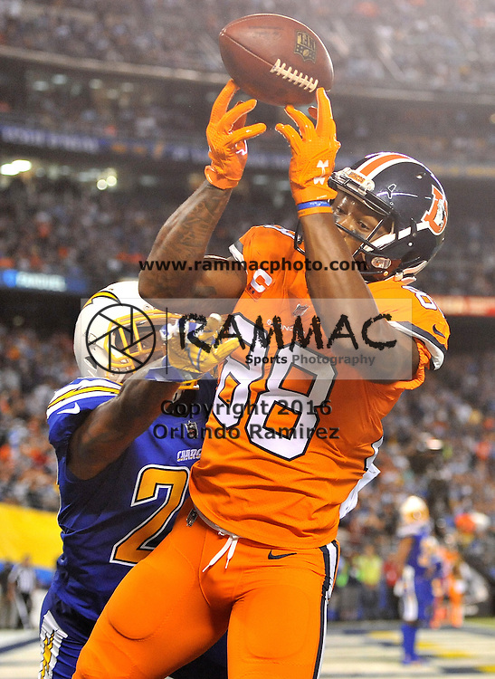 Oct 13, 2016; San Diego, CA, USA; Denver Broncos wide receiver Demaryius Thomas (88) fails to make the catch on a play that was waved off during the second half of the game against the San Diego Chargers at Qualcomm Stadium. San Diego won 21-13. Mandatory Credit: Orlando Ramirez-USA TODAY Sports