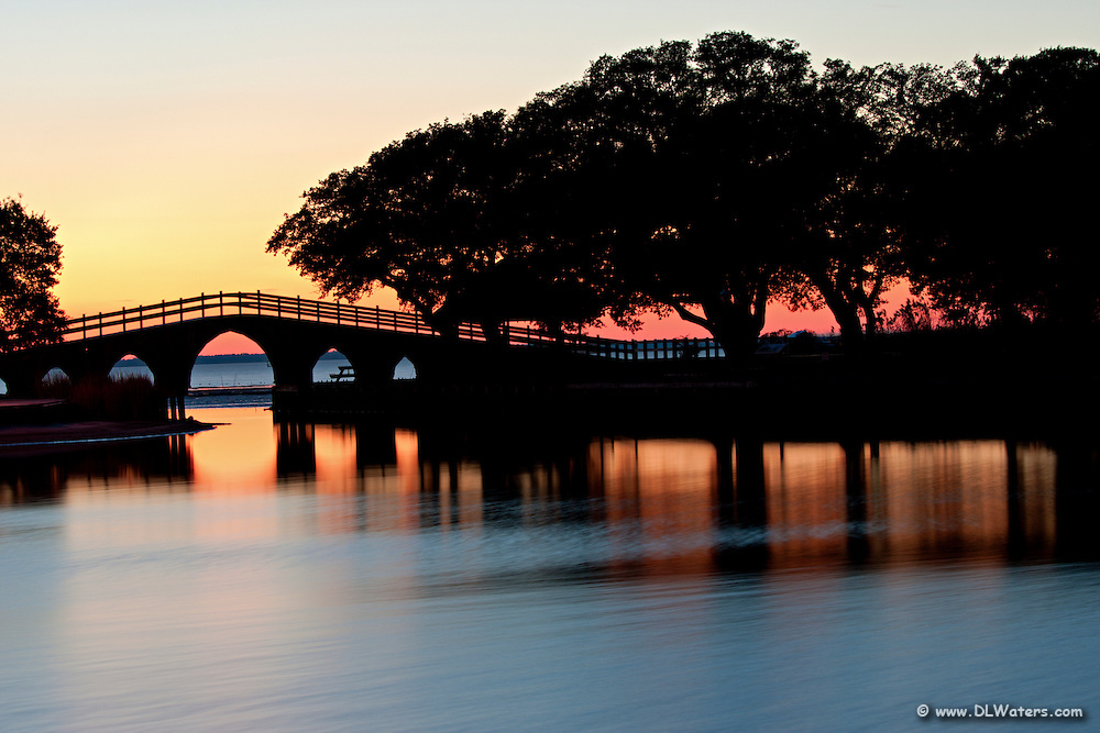 Bridge in front of the Whale Head Club in Corolla North Carolina at sunset.