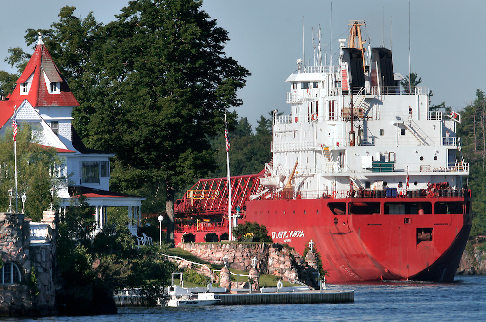 St. Lawrence, nws, lynn, 23.-The Atlantic Huron sails through the 1000 Islands area of the St. Lawrence River on its way upbound toward Lake Ontario Sunday August 6, 2005. the giant tankers thread a needle through the 1000 Island area.