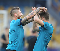May 25, 2018 - Kiev, Ukraine - Real Madrid's Spanish defender Sergio Ramos (L) during a Real Madrid team training session at the Olympic Stadium in Kiev, Ukraine on May 25, 2018, on the eve of the UEFA Champions League final football match between Liverpool and Real Madrid. (Credit Image: © Raddad Jebarah/NurPhoto via ZUMA Press)