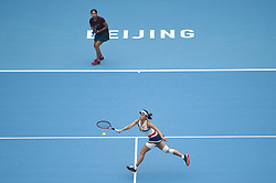 BEIJING, Oct. 7, 2017  Peng Shuai (R) of China and Sania Mirza of India compete during the women's doubles semifinal match against Chan Yung-Jan of Chinese Taipei and Martina Hingis of Switzerland at the China Open tennis tournament in Beijing on Oct. 7, 2017. Peng and Mirza lost 1-2.  wll) (Credit Image: © Ju Huanzong/Xinhua via ZUMA Wire)