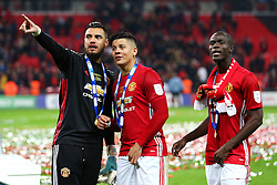 Sergio Romero, Marcos Rojo and Eric Bailly of Manchester United - Mandatory by-line: Matt McNulty/JMP - 26/02/2017 - FOOTBALL - Wembley Stadium - London, England - Manchester United v Southampton - EFL Cup Final