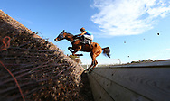 Plumpton, UK. 17th October 2016. 	Leighton Aspell riding  Blue Surf jumps the ditch before winning the Kyle Family Josh Gifford Memorial Handicap Chase (for The Josh Gifford Memorial Trophy).<br /> © Telephoto Images / Alamy Live News