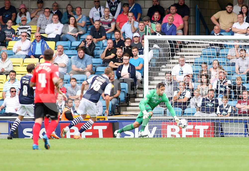 David Forde of Millwall gathers the ball during the Sky Bet League 1 match between Millwall and Coventry City at The Den, London, England on 15 August 2015. Photo by Edmund  Boyden.