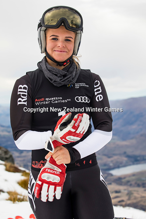 Alice Robinson of NZ at the ANC GS at the Audi quatro Winter Games at Cardrona Alpine Resort.<br /> 28th August 2017