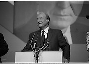 Fianna Fáil Ard Fheis.  (R97)..1989..25.02.1989..02.25.1989..25th February 1989..The Fianna Fáil Ard Fheis was held today at the RDS Main Hall, Ballsbridge, Dublin. An Taoiseach, Charles Haughey TD,gave the keynote speech of the event...An Taoiseach, Charles Haughey TD, prepares to deliver his keynote address to the assembled Fianna Fáil delegates at the Ard Fheis In the RDS, Dublin.