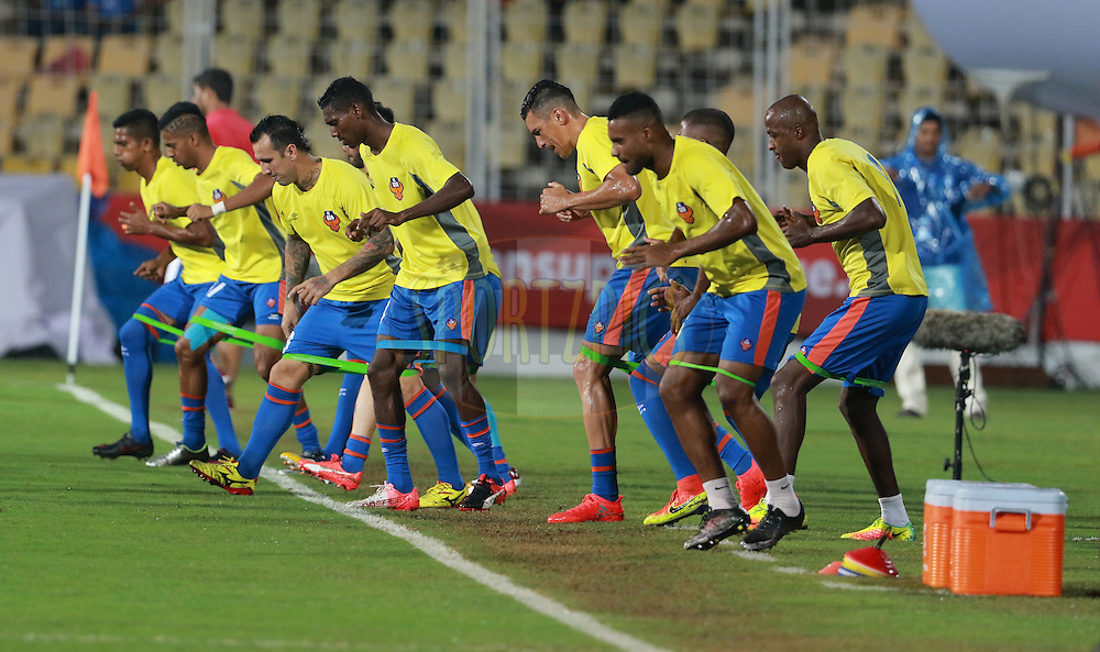 FC Goa players warm up before the start of the match 8 of the Indian Super League (ISL) season 3 between FC Goa and FC Pune City held at the Fatorda Stadium in Goa, India on the 8th October 2016.<br /> <br /> Photo by Vipin Pawar / ISL/ SPORTZPICS