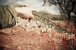 Corleto Perticara (PZ) 17.02.2009, Italy - Tempa Rossa - Speranze e realtà del giacimento Total in Basilicata. Il territorio di Corleto Perticara è ricco di tartufaie. Il cosiddetto Tuber magnatum, il tartufo bianco, rappresenta, senza alcun dubbio, la risorsa tartuficola di maggiore valore economico per la Basilicata. E' noto, infatti, che alcuni anni fa ha spuntato in Italia il prezzo di circa 6.000 euro/Kg. A causa del cantiere, molte di queste tartufaie sono andate irrimediabilmente perse. NELLA FOTO: Una delle tartufaie sommersa dai detriti degli scavi del cantiere Total di Tempa Rossa.