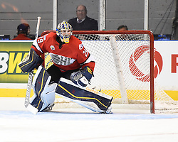 Mackenzie Blackwood of the Barrie Colts represented Team OHL in Game 4 of the 2014 SUBWAY Super Series in Kingston, ON on Monday, Nov. 17, 2014. Photo by Aaron Bell/OHL Images