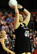Cathrine Latu shoots foe Silver Ferns, during New World Netball Series, New Zealand Silver Ferns v England at The ILT Velodrome, Invercargill, New Zealand. Thursday 6 October 2011 . Photo: Richard Hood photosport.co.nz