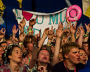 Mumford and Sons play the Pyramid stage in front of very excited fans. The 2013 Glastonbury Festival, Worthy Farm, Glastonbury. 30 June 2013. © Guy Bell, guy@gbphotos.com, all rights reserved