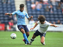 Rolando Aarons of Newcastle United (L) and Ben Pearson of Preston North End in action - Mandatory by-line: Jack Phillips/JMP - 22/07/2017 - FOOTBALL - Deepdale - Preston, England - Preston North End v Newcastle United - Pre-Season Club Friendly