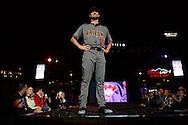 PHOENIX, AZ - DEC 3: D-backs Robbie Ray walks down the runway in one of the new 2016 uniforms. (Photo by Jennifer Stewart/Arizona Diamondbacks)